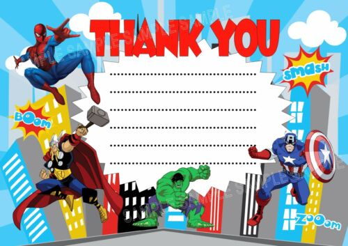 cards stationery 10 superhero spiderman avengers birthday party invitations thank you cards home furniture diy officielshop com