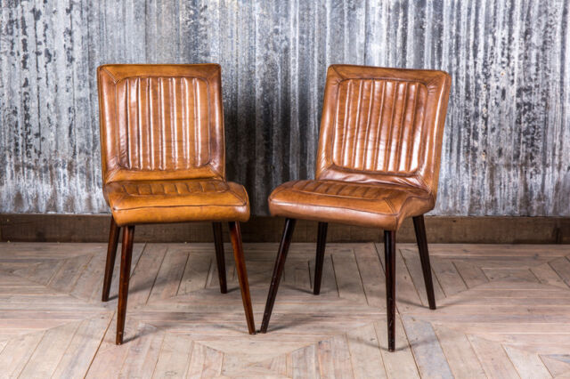 retro cafe dining chairs chair cover rentals bronx ny vintage style tan leather kitchen restaurant the epsom ebay