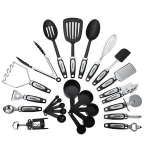 kitchen tool commercial faucets 25pcs utensils set cooking tools gadgets stainless steel stock photo