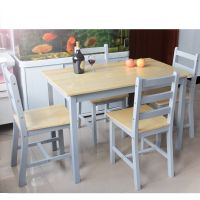 Dining Table and 2 4 Chairs Set Wooden Contemporary Bistro ...