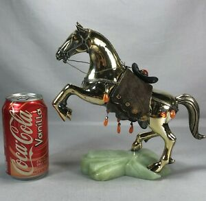 """Gorgeous 9"""" Tall Chinese Gold Washed 925 Sterling Silver & Stone Horse Statue"""