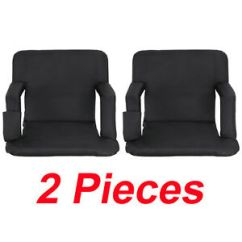 Stadium Chair For Bleachers Chairman Meaning 2 Pieces Black Wide Seat Benches 5 Image Is Loading