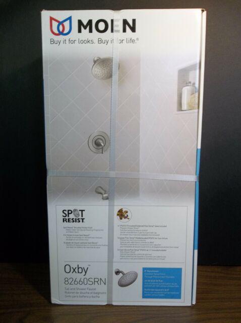 moen oxby 82660srn spot resist brushed nickel tub shower faucet