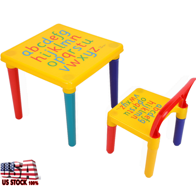 baby table and chairs eames chair stool kids 2x set children play room letters education letter learning activity study