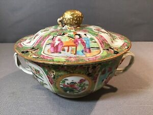 ANTIQUE CHINESE EARLY 1800's ROSE MEDALLION COVERED SERVING DISH TWIST HANDLES