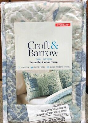 croft barrow anna solid teal sarah patchwork quilted sham set of 2 nwt ebay