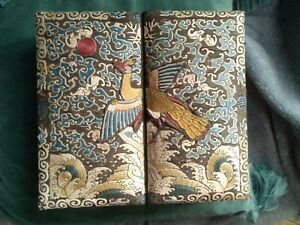 Antique Chinese Embroidered Silk Mandarin Badge Peacock covered Jewellery Box