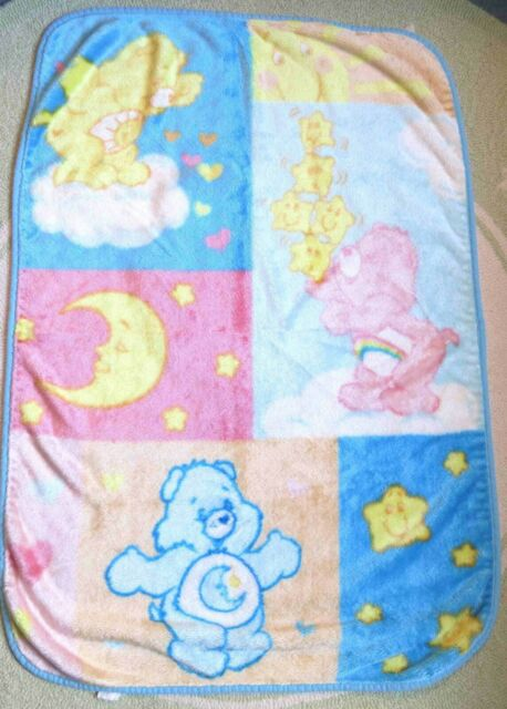 Care Bears Pastel Thick Soft Acrylic Crib Baby Blanket Throw Security Lovey VGUC   eBay