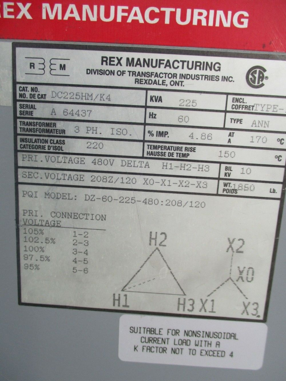 medium resolution of rex 225 kva 3 phase 480x120 208 volt transformer t1186 ebay square d transformers dry 225 kva transformer wiring diagram