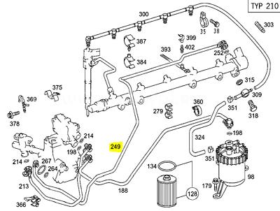 Genuine Mercedes Benz OM612 270 Diesel Engine Fuel Pipe