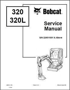 Bobcat 320 / 320L / 322 Excavator Service Manual on a CD