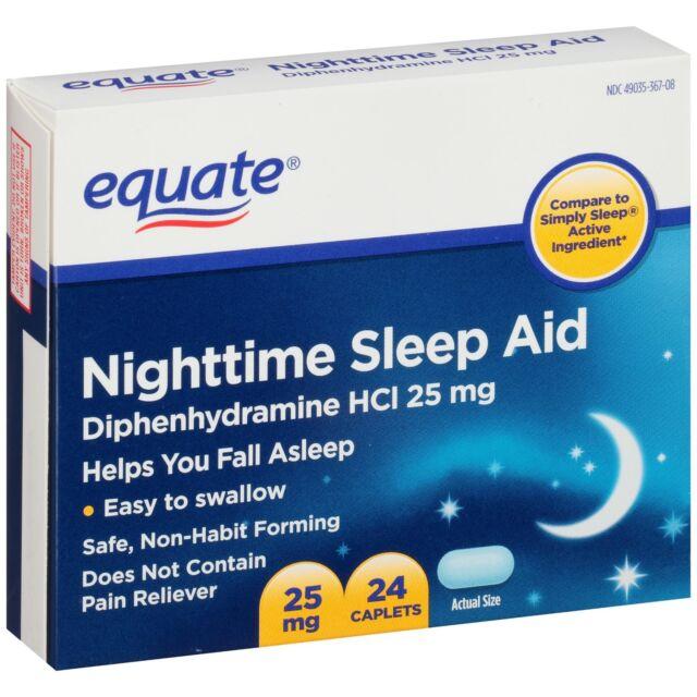 EQUATE Nighttime Sleep Aid 25mg Diphenhydramine HCI 24 ...