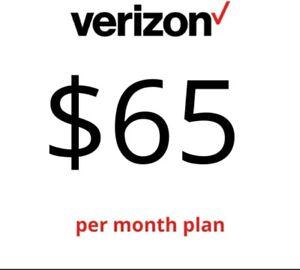 Verizon Wireless Unlimited 4G LTE $65 Plan with No