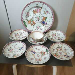 8 pieces set antique Chinese / China Porcelain Dish Plate 19th
