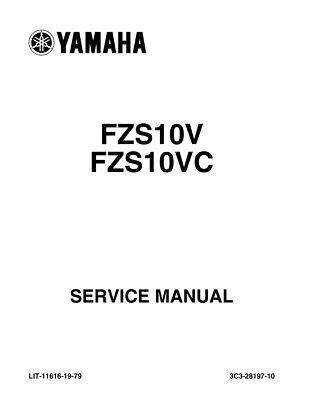 Yamaha FZ1 FZS10V C 2010 2011 2012 2013 Service Repair