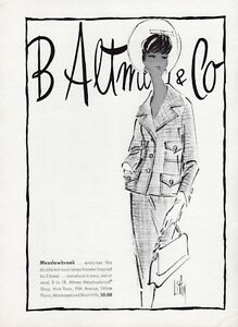 1961 B. Altman & Co PRINT AD features: Meadowbrook Wool