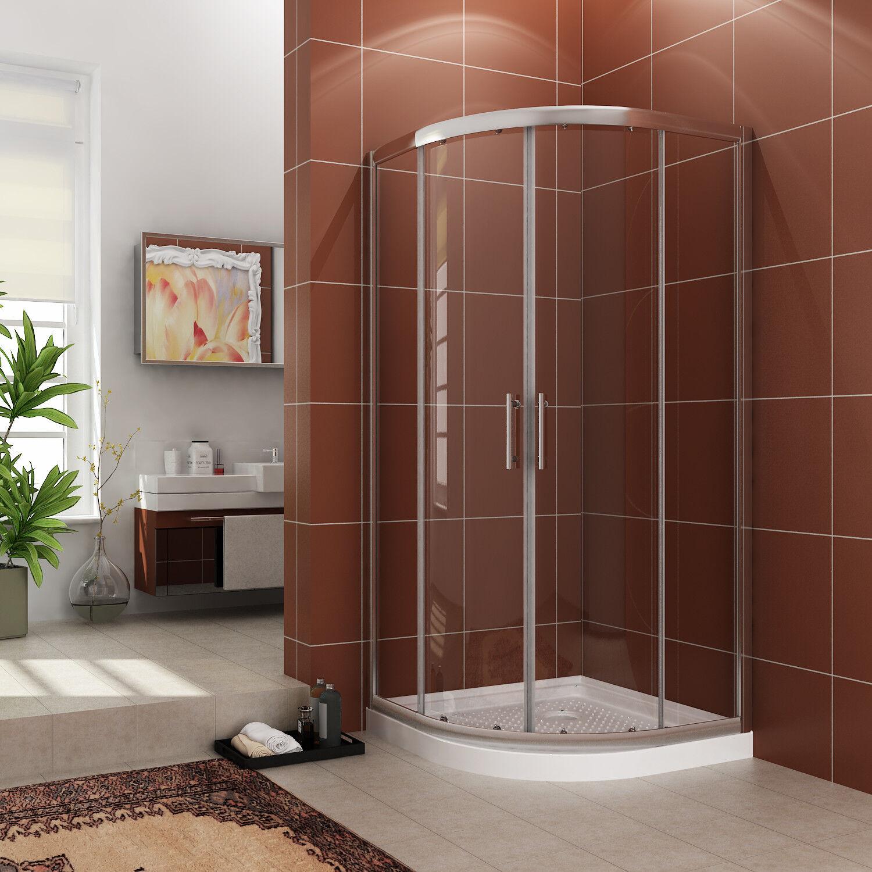 Sunny Shower Neo Round Corner Framed Sliding Shower Door 36