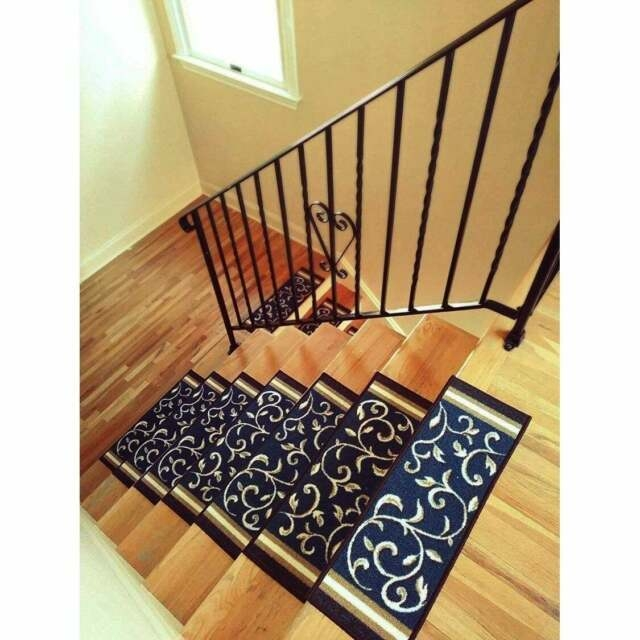 Black Indoor Outdoor Non Skid Slip Resistant Carpet Stair Treads | Non Slip Carpet Stair Treads Indoor | Rubber Backing | Decor Rugs | Slip Resistant | Pure Era | Flooring