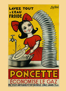 vintage posters for kitchen wicker stools washing dishes poncette save on gas french poster details about repro free s h