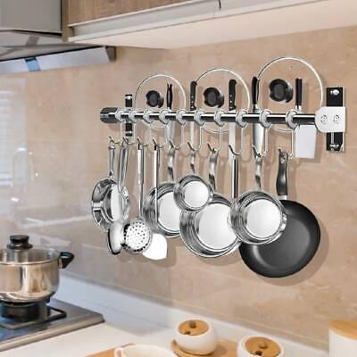 60cm hanging kitchen utensil pot pan wall cabinet rail rack towel holder 10 hook 884287113666 ebay