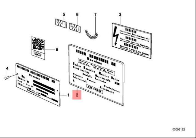 Genuine BMW 8 Series E31 Sticker Label Battery Warning OEM