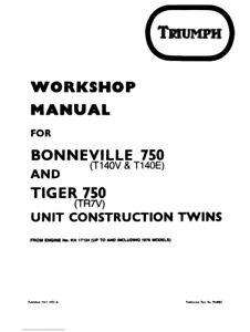 TRIUMPH BONNEVILLE 750 T140V/E TIGER 750 TR7V SERVICE