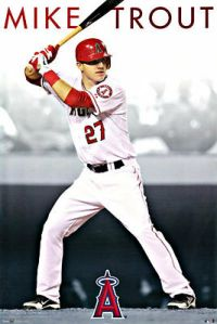 MIKE TROUT POSTER LOS ANGELES (LA) ANGELS of ANAHEIM LARGE ...