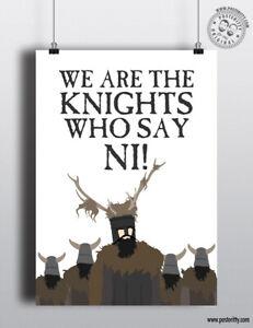 Les Chevaliers Qui Disent Ni : chevaliers, disent, Chevaliers, DISENT, Saint-Graal-Monty, Python, Citation, Imprimé, Poster, Design, Arbuste