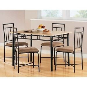 5 Piece Wood Metal Modern Dining Table Set Chairs Dinner