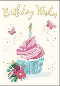 Cupcake Birthday Card - With Butterflies and Flowers - 7 x 5 Inches | eBay