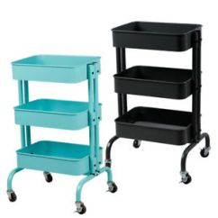 Kitchen Trolley Cart Dexter Slim Rolling 3 Tiers Storage Rack With Image Is Loading