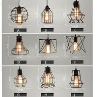MIXED VINTAGE EDISON METAL WIRE CAGE HANGING LAMP SHADE ...