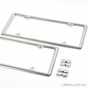 2x Slim Thin Chrome Plain ABS Plastic License Plate Frame