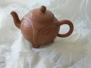 China Yixing Zisha clay teapot signed unique rare hand carved design