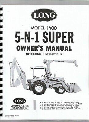 Long 1400 Tractor Loader Backhoe TLB Owners Operators