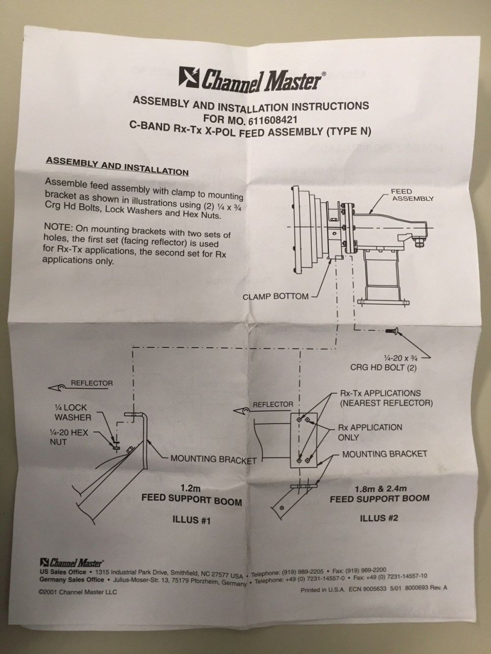 medium resolution of channel master 611608421 antenna c band feed assembly type n for sale online ebay