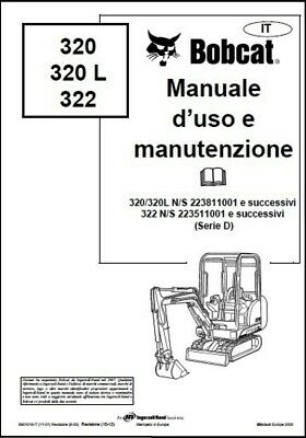 libro manuale BOBCAT 320-322L USO E MANUTENZIONE IN