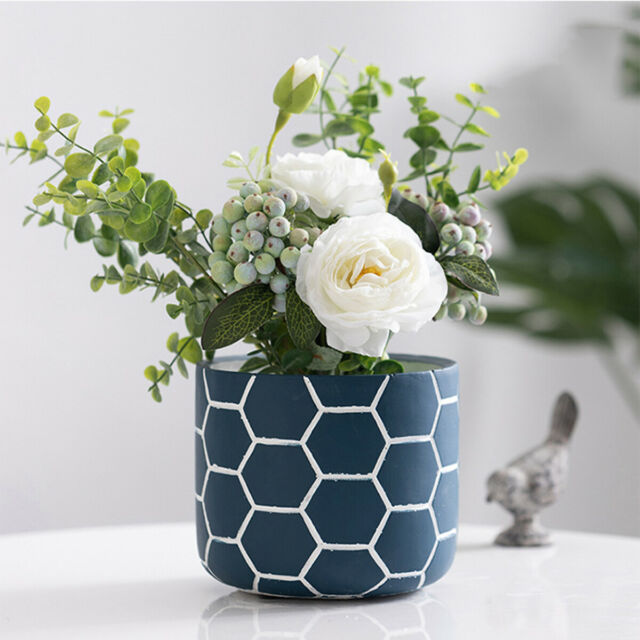 5 Inch Blue Cement Flower Pot Garden Planters Indoor Plant Containers For Sale Online