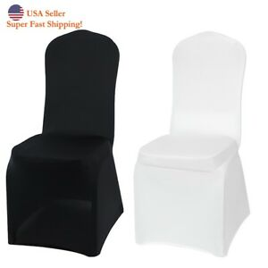fitted chair covers ebay white high back office dh lycra stretchable wedding party banquet folding image is loading
