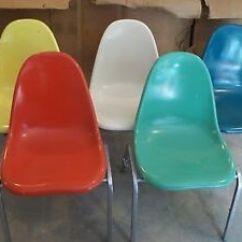 Fiberglass Shell Chair Ergonomic Godrej Price Lot Of 4 Eames Era You Choose Color Techfab Image Is Loading
