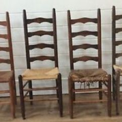 Ladderback Dining Chairs Pink Salon Chair Antique Shaker Amish Ladder Back Rush Woven Image Is Loading