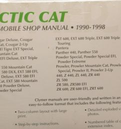 clymer arctic cat snowmobile 1990 1998 shop manual manuals literature s836 [ 1600 x 1062 Pixel ]