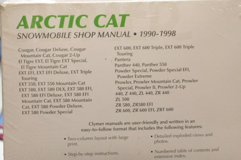 medium resolution of clymer arctic cat snowmobile 1990 1998 shop manual manuals literature s836