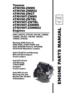 YANMAR 4TNV98 4TNV98T ENGINES PARTS MANUAL REPRINTED COMB