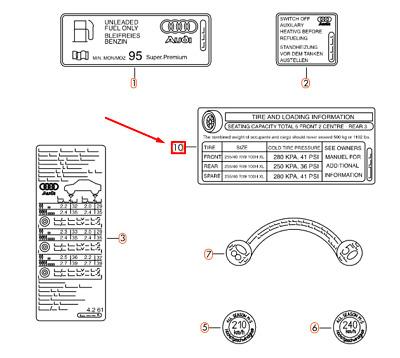 NEW AUDI Q5 8R TIRE PRESSURE INFORMATION LABEL 8R0010502BK