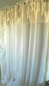 details sur lot 2 rideaux voilages style ancien vintage fait main blanc dentelle neufs