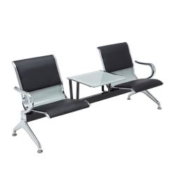 Steel Chair For Office Poang Covers Etsy 2 Seat Salon Barber Airport Reception Waiting Room Bench W Heavy Duty Table