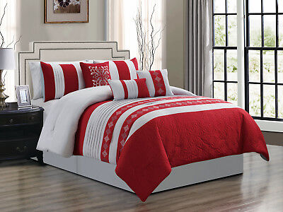 7p lumi hexagram diamond floral damask comforter set light gray silver red queen 655881352061 ebay