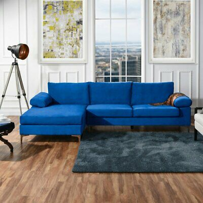 sofamania exp116 vv velvet fabric sectional sofa blue