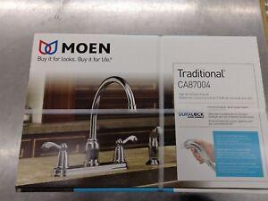 details about moen traditional ca87004 high arc 2 handle kitchen faucet chrome